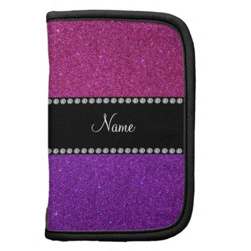 Nombre personalizado brillo rosado púrpura organizadores