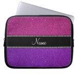 Nombre personalizado brillo rosado púrpura fundas portátiles