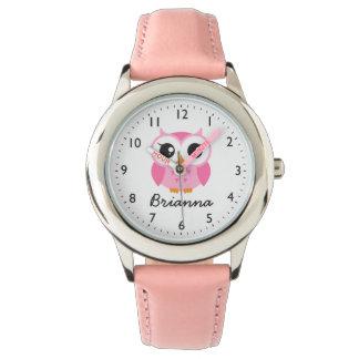 Nombre personalizado búho rosado lindo reloj de mano