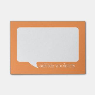 Nombre personalizado burbuja de la charla del post-it® notas