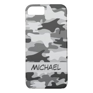 Nombre personalizado camuflaje de plata gris de funda iPhone 7