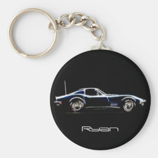 Nombre personalizado Chevrolet Corvette 1968 Keych Llavero Redondo Tipo Pin