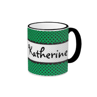 Nombre personalizado conchas de peregrino verdes d taza