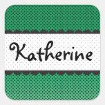 Nombre personalizado conchas de peregrino verdes pegatinas cuadradas personalizadas
