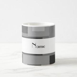 Nombre personalizado cuadrados grises retros taza clásica