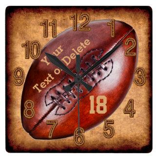 NOMBRE personalizado de la decoración del fútbol Reloj Cuadrado