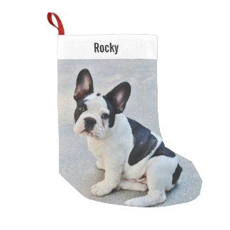 Nombre personalizado de la foto del dogo y del calcetín de navidad pequeño