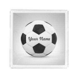 Nombre personalizado del balón de fútbol bandeja cuadrada