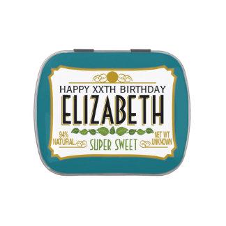 Nombre personalizado del cumpleaños latas de dulces