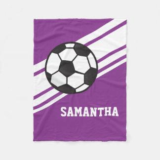 Nombre personalizado deportes púrpuras del balón manta de forro polar