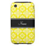 Nombre personalizado enrejado marroquí amarillo tough iPhone 3 protector