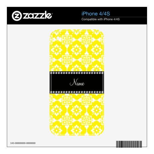 Nombre personalizado enrejado marroquí amarillo calcomanía para el iPhone 4S
