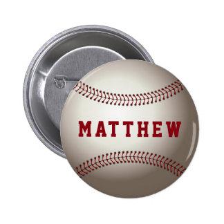 Nombre personalizado forma del béisbol pin redondo de 2 pulgadas