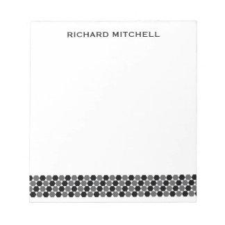 Nombre personalizado hexágonos negros grises blocs de papel