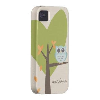 Nombre personalizado hojas lindas de la rama de ár Case-Mate iPhone 4 fundas