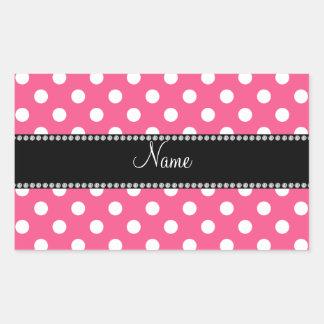 Nombre personalizado lunares blancos rosados pegatina rectangular