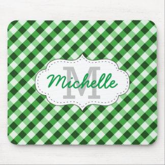 Nombre personalizado modelo verde elegante de la alfombrillas de ratones