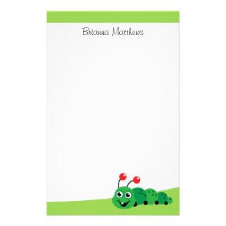 Nombre personalizado oruga verde personalized stationery