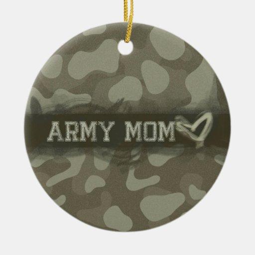 Nombre personalizado personalizado de la mamá del adorno navideño redondo de cerámica