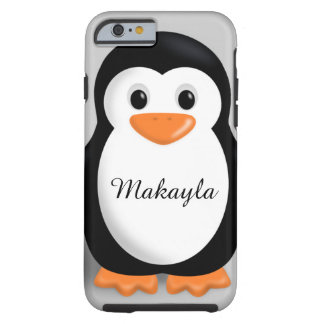 Nombre personalizado pingüino lindo del bebé funda de iPhone 6 tough