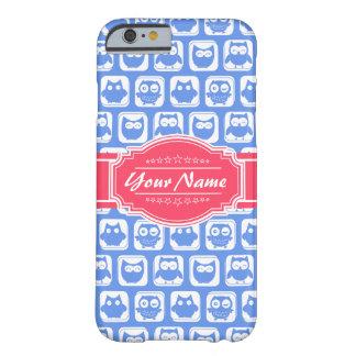 Nombre personalizado rosas fuertes azules del búho funda barely there iPhone 6