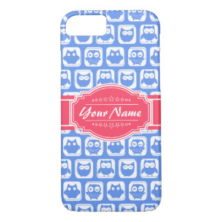Nombre personalizado rosas fuertes azules del búho funda iPhone 7