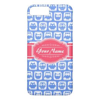 Nombre personalizado rosas fuertes azules del búho funda iPhone 7 plus