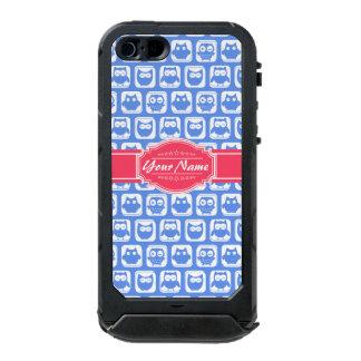 Nombre personalizado rosas fuertes azules del búho funda para iPhone 5 incipio ATLAS ID