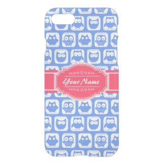 Nombre personalizado rosas fuertes azules del búho funda para iPhone 7