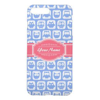 Nombre personalizado rosas fuertes azules del búho funda para iPhone 7 plus