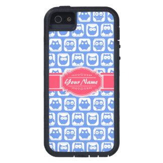 Nombre personalizado rosas fuertes azules del búho funda para iPhone SE/5/5s