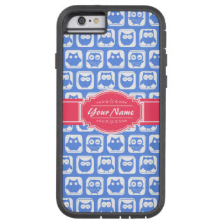 Nombre personalizado rosas fuertes azules del búho funda tough xtreme iPhone 6