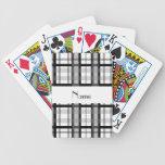 Nombre personalizado tela escocesa blanco y negro barajas de cartas