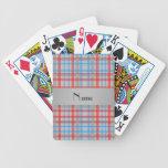Nombre personalizado tela escocesa gris del rojo a baraja cartas de poker