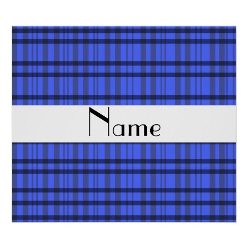 Nombre personalizado tela escocesa gris y azul mod impresiones