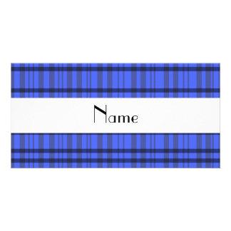 Nombre personalizado tela escocesa gris y azul mod tarjeta personal