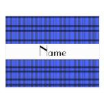 Nombre personalizado tela escocesa gris y azul mod postal