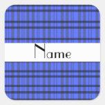 Nombre personalizado tela escocesa gris y azul calcomanía cuadradas personalizada