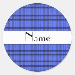 Nombre personalizado tela escocesa gris y azul pegatinas redondas