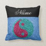 Nombre personalizado ying el brillo azul de yang almohada