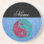 Nombre personalizado ying el brillo azul de yang posavasos para bebidas