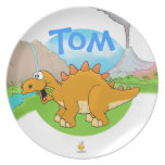 "nombre plate ""DINOS "" for kids with Platos"