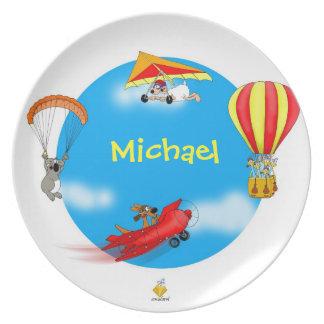 """nombre plate with for kids """"LITTLE PILOTS """" Platos"""