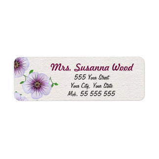 Nombre púrpura floral en la estructura blanca etiquetas de remite
