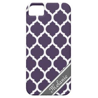 Nombre púrpura y gris del personalizado del enreja iPhone 5 coberturas