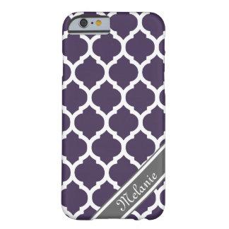 Nombre púrpura y gris del personalizado del funda de iPhone 6 barely there