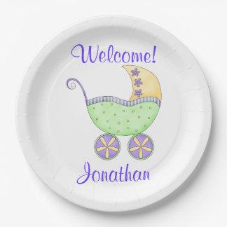 Nombre recién nacido de la recepción del platos de papel