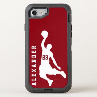 Nombre rojo del jugador de básquet de los nuevos funda OtterBox defender para iPhone 7