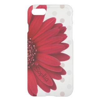 Nombre rojo del personalizado de la margarita del funda para iPhone 7