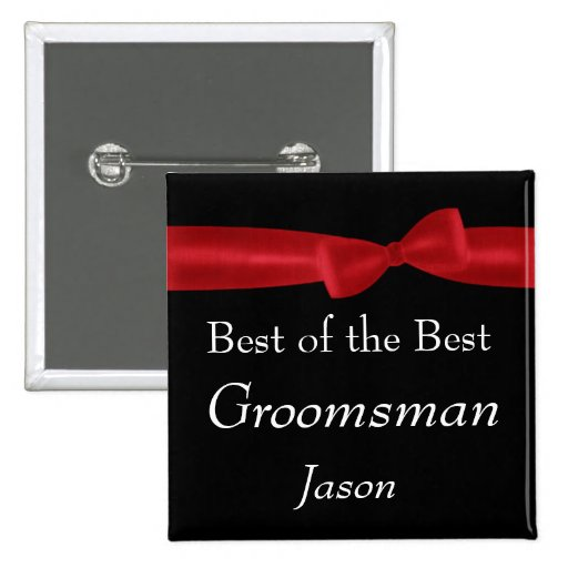 Nombre rojo del personalizado del boda del arco pin cuadrada 5 cm